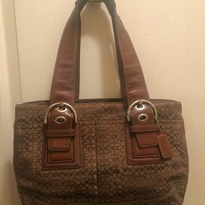 Brown Leather Coach Shoulder Bag